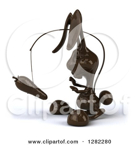 Clipart of a 3d Dark Chocolate Easter Bunny Chasing a Carrot on a Stick - Royalty Free Illustration by Julos