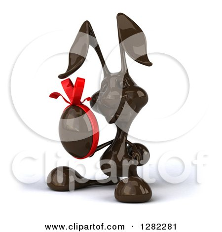 Clipart of a 3d Dark Chocolate Easter Bunny Holding an Egg - Royalty Free Illustration by Julos