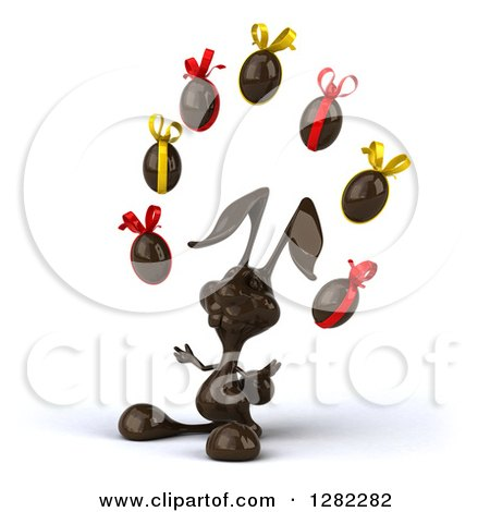 Clipart of a 3d Dark Chocolate Easter Bunny Facing Left and Juggling Eggs - Royalty Free Illustration by Julos