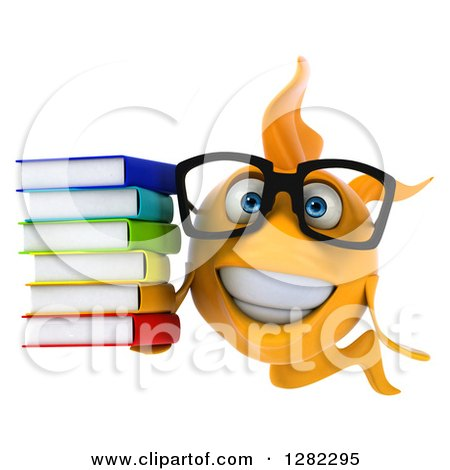 Clipart of a 3d Happy Yellow Fish Wearing Glasses and Holding a Stack of Books - Royalty Free Illustration by Julos