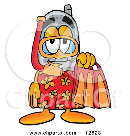 Clipart Picture of a Wireless Cellular Telephone Mascot Cartoon Character in Orange and Red Snorkel Gear by Toons4Biz
