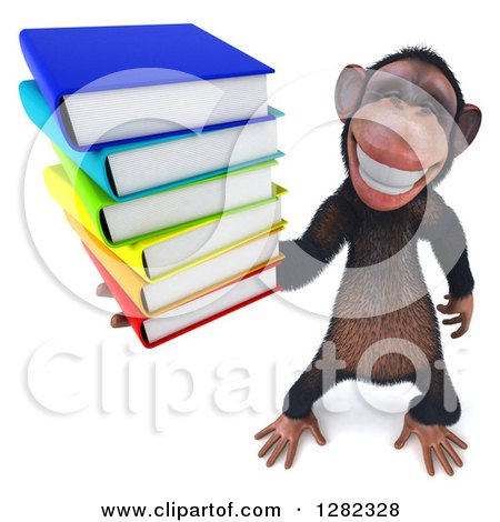 Clipart of a 3d Chimpanzee Grinning and Holding up a Stack of Books - Royalty Free Illustration by Julos