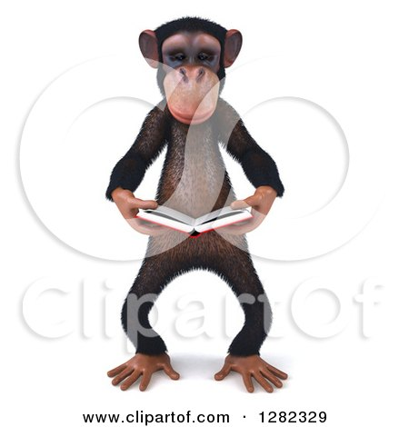 Clipart of a 3d Chimpanzee Reading a Book - Royalty Free Illustration by Julos