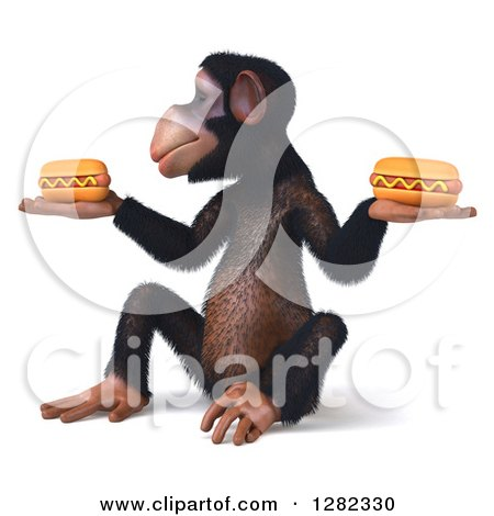 Clipart of a 3d Chimpanzee Facing Left, Sitting and Holding Two Hot Dogs - Royalty Free Illustration by Julos