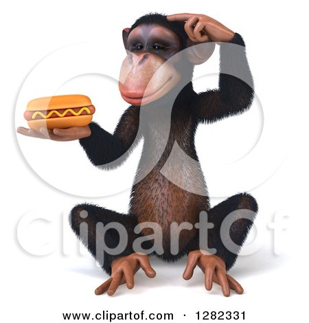 Clipart of a 3d Thinking Chimpanzee Sitting and Holding a Hot Dog - Royalty Free Illustration by Julos