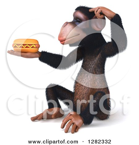 Clipart of a 3d Thinking Chimpanzee Facing Left, Sitting and Holding a Hot Dog - Royalty Free Illustration by Julos