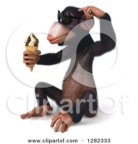 Clipart of a 3d Thinking Chimpanzee Monkey Wearing Sunglasses, Sitting, Facing Left and Holding an Ice Cream Cone - Royalty Free Illustration by Julos