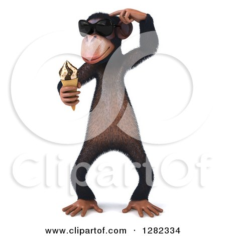 Clipart of a 3d Thinking Chimpanzee Monkey Wearing Sunglasses and Holding an Ice Cream Cone - Royalty Free Illustration by Julos