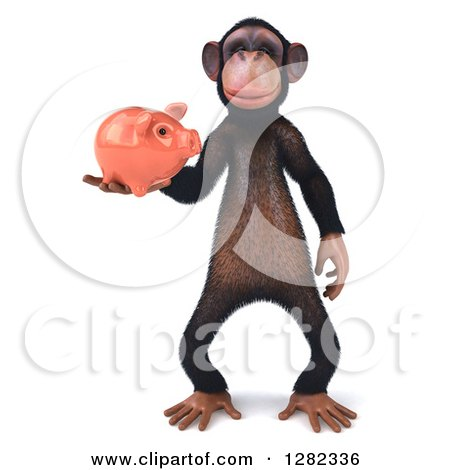 Clipart of a 3d Chimpanzee Standing and Holding a Piggy Bank - Royalty Free Illustration by Julos