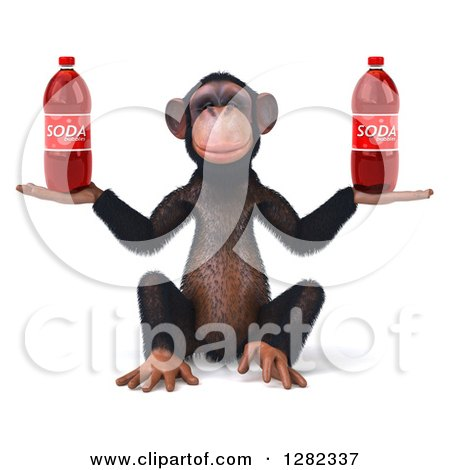 Clipart of a 3d Chimpanzee Sitting and Holding Two Soda Bottles - Royalty Free Illustration by Julos
