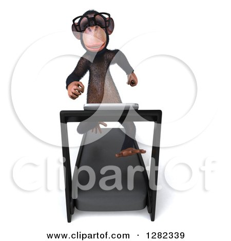 Clipart of a 3d Bespectacled Chimpanzee Running on a Treadmill - Royalty Free Illustration by Julos