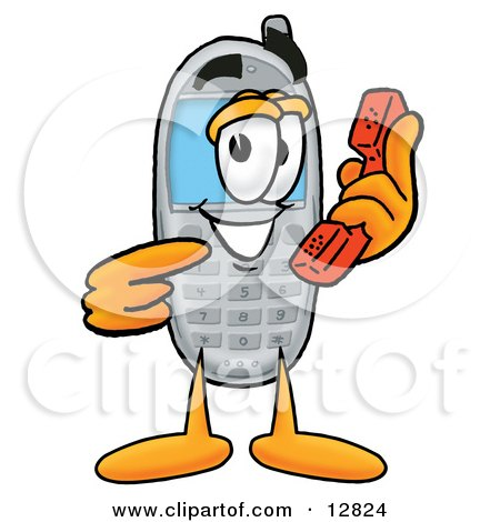 Clipart Picture of a Wireless Cellular Telephone Mascot Cartoon Character Holding a Telephone by Toons4Biz