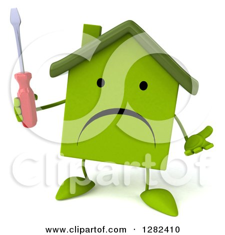 Clipart of a 3d Unhappy Green House Character Shrugging and Holding a Screwdriver - Royalty Free Illustration by Julos