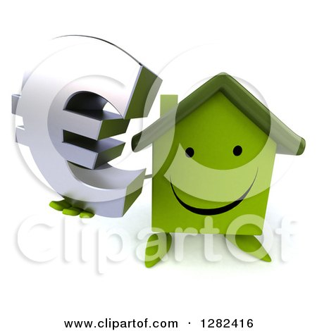 Clipart of a 3d Happy Green House Character Holding up a Euro Currency Symbol - Royalty Free Illustration by Julos