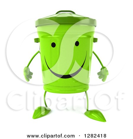 Clipart Of A 3d Happy Recycle Bin Character Royalty Free Illustration