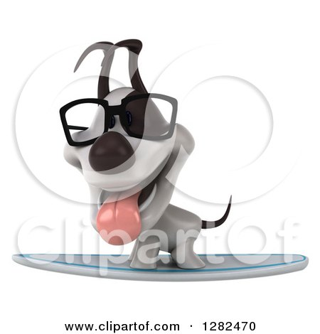 Clipart of a 3d Bespectacled Jack Russell Terrier Dog Panting on a Surfboard - Royalty Free Vector Illustration by Julos