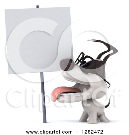 Clipart of a 3d Bespectacled Jack Russell Terrier Dog Panting and Looking up at a Blank Sign - Royalty Free Vector Illustration by Julos