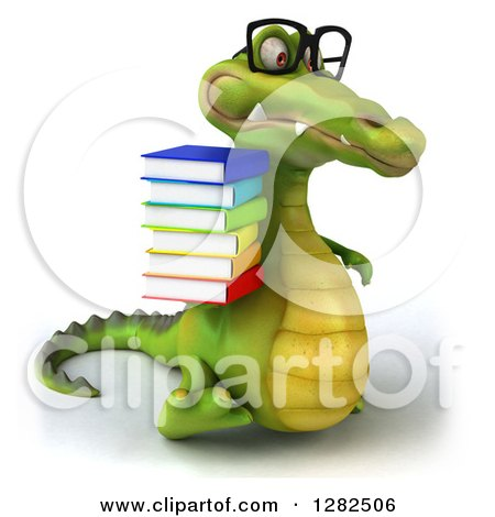 Clipart of a 3d Bespectacled Crocodile Walking to the Right and Holding a Stack of Books - Royalty Free Vector Illustration by Julos