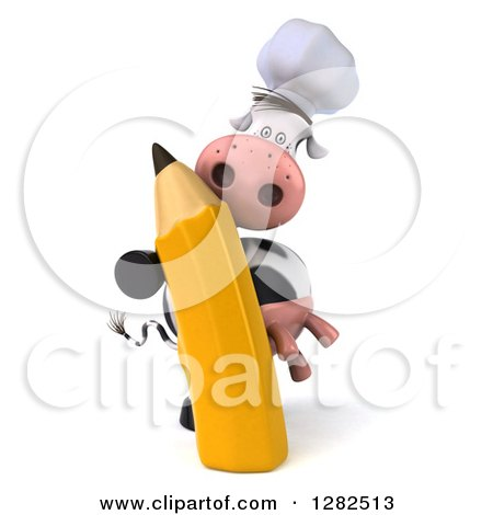 Clipart of a 3d Chef Cow with a Giant Pencil - Royalty Free Vector Illustration by Julos