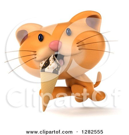 Clipart of a 3d Ginger Cat Running and Licking an Ice Cream Cone - Royalty Free Vector Illustration by Julos