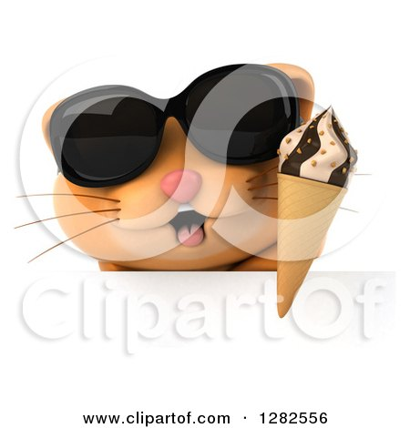 Clipart of a 3d Ginger Cat Wearing Sunglasses and Holding an Ice Cream Cone over a Sign - Royalty Free Vector Illustration by Julos