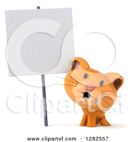 Clipart of a 3d Ginger Cat Smiling Under a Blank Sign - Royalty Free Vector Illustration by Julos
