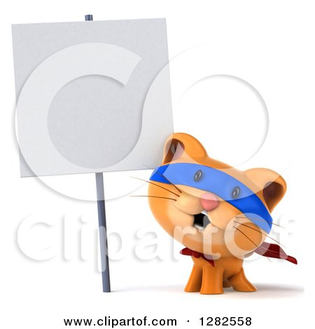 Clipart of a 3d Super Hero Ginger Cat Smiling Under a Blank Sign - Royalty Free Vector Illustration by Julos
