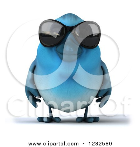 Clipart of a 3d Bluebird Wearing Sunglasses - Royalty Free Vector Illustration by Julos