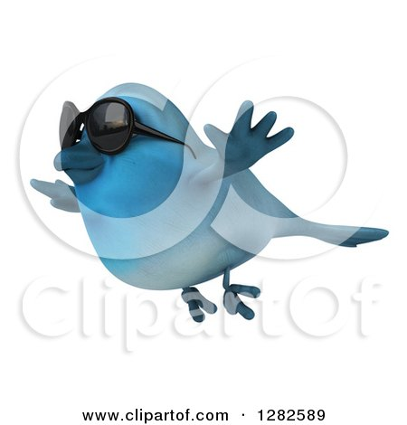 Clipart of a 3d Bluebird Wearing Sunglasses and Flying to the Left - Royalty Free Vector Illustration by Julos
