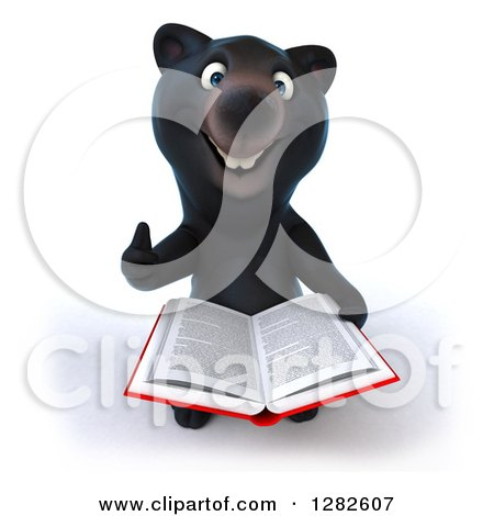 Clipart of a 3d Happy Black Bear Holding up a Thumb and Reading a Book - Royalty Free Vector Illustration by Julos