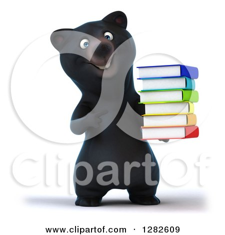 Clipart of a 3d Happy Black Bear Holding and Pointing to a Stack of Books - Royalty Free Vector Illustration by Julos