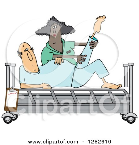 Clipart of a Black Female Nurse Helping a White Male Patient Stretch for Physical Therapy Recovery in a Hospital Bed - Royalty Free Vector Illustration by djart