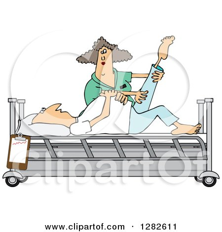 Clipart of a White Female Nurse Helping a Male Patient Stretch for Physical Therapy Recovery in a Hospital Bed - Royalty Free Vector Illustration by djart