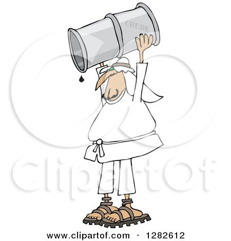 Arab Man Holding up a Crud Oil Barrel and Pouring out the Last Drop Posters, Art Prints