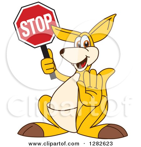 Clipart of a Happy Kangaroo School Mascot Character Gesturing and Holding a Stop Sign - Royalty Free Vector Illustration by Toons4Biz
