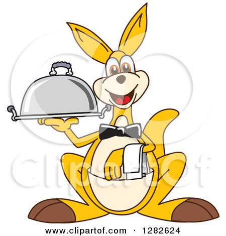 Clipart of a Happy Kangaroo School Mascot Character Waiter Holding a Cloche Platter - Royalty Free Vector Illustration by Toons4Biz