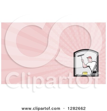 Clipart of a Cartoon Male Window Washer and Pink Rays Background or Business Card Design - Royalty Free Illustration by patrimonio