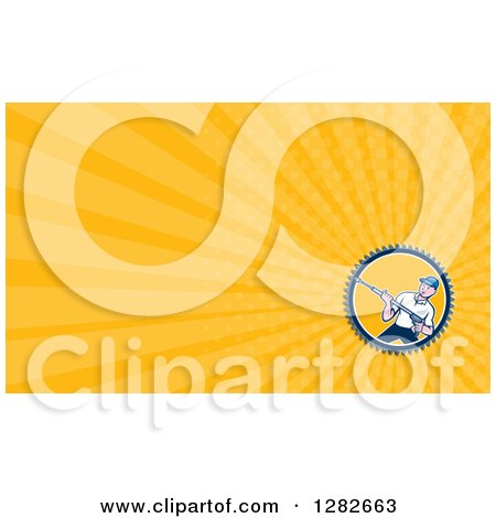 Clipart of a Retro Male Pressure Washer and Orange Rays Background or Business Card Design - Royalty Free Illustration by patrimonio