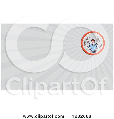Cartoon Handy Man with Six Arms and Tools and Gray Rays Background or Business Card Design Posters, Art Prints