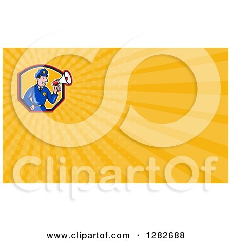 Clipart of a Cartoon Male Police Officer Using a Megaphone and Yellow Rays Background or Business Card Design - Royalty Free Illustration by patrimonio
