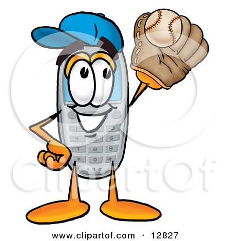 Clipart Picture of a Wireless Cellular Telephone Mascot Cartoon Character Catching a Baseball With a Glove by Toons4Biz
