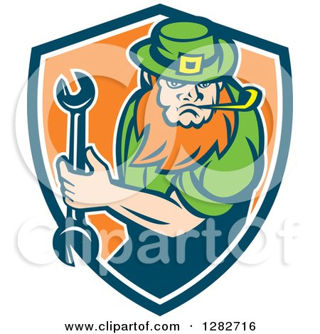 Clipart of a St Patricks Day Leprechaun Mechanic Holding a Wrench in a Blue White and Orange Shield - Royalty Free Vector Illustration by patrimonio