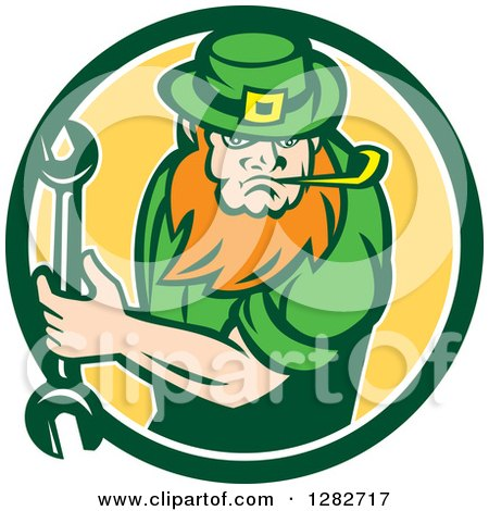 Clipart of a St Patricks Day Leprechaun Mechanic Holding a Wrench in a Green White and Yellow Circle - Royalty Free Vector Illustration by patrimonio