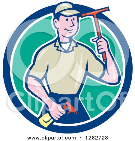 Clipart of a Retro Cartoon Male Window Washer Holding a Spray Bottle and Squeegee in a Blue White and Turquoise Circle - Royalty Free Vector Illustration by patrimonio