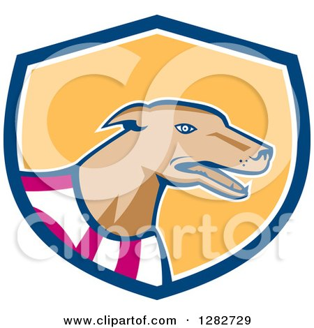 Clipart of a Retro Cartoon Greyhound Dog Wearing a Racing Vest in a Blue White and Yellow Shield - Royalty Free Vector Illustration by patrimonio
