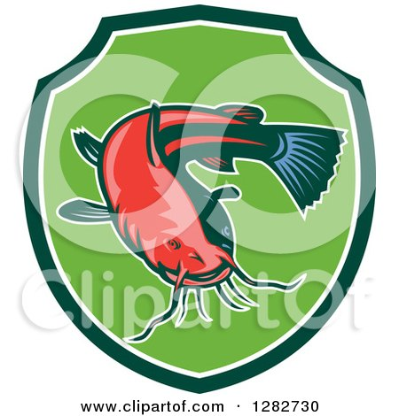 Clipart of a Ray Finned Catfish in a Green and White Shield - Royalty Free Vector Illustration by patrimonio