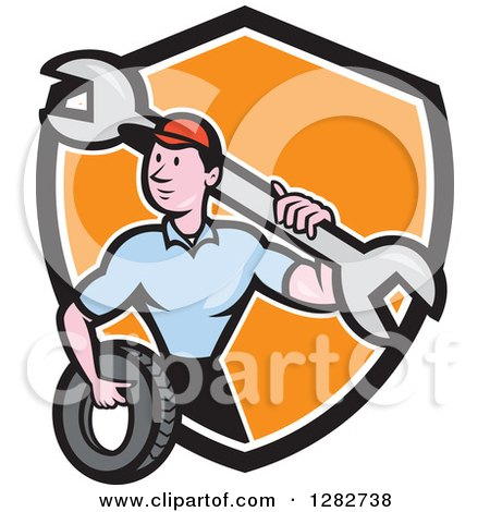 Clipart of a Cartoon Male Mechanic Worker Holding a Giant Wrench and a Tire in a Black White and Orange Shield - Royalty Free Vector Illustration by patrimonio
