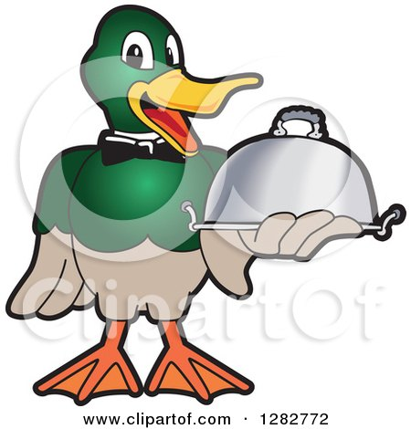Clipart of a Happy Mallard Duck School Mascot Character Waiter Holding a Cloche Platter - Royalty Free Vector Illustration by Toons4Biz