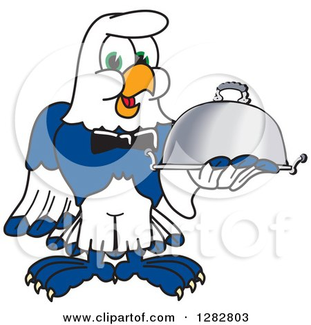 Clipart of a Happy Seahawk School Mascot Character Waiter Holding a Cloche Platter - Royalty Free Vector Illustration by Toons4Biz