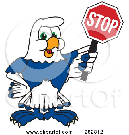 Clipart of a Happy Seahawk School Mascot Character Holding a Stop Sign - Royalty Free Vector Illustration by Toons4Biz
